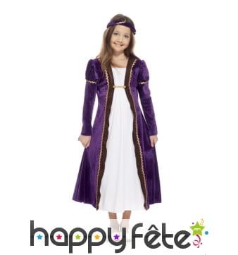 Robe de petite princesse médiévale violette