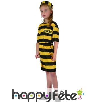 Robe de petite prisonnière jaune et noire