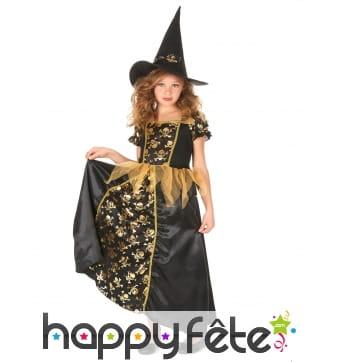Robe de petite sorcière noir tête de mort dorées