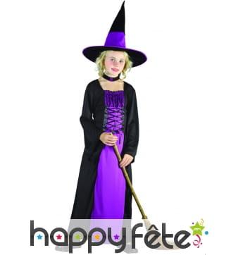 Robe de petite sorcière noire et violette