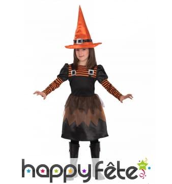 Robe de petite sorcière orange et noir