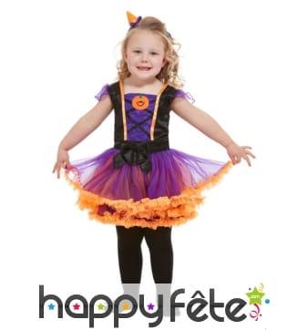 Robe de petite sorcière orange et violet