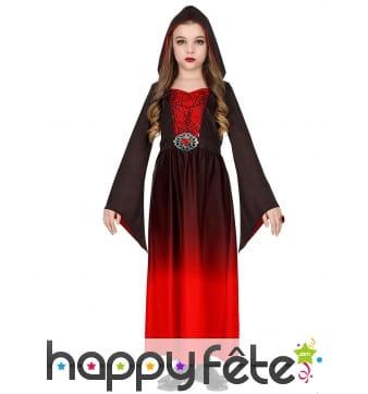 Robe de petite vampire dégradé rouge et noir