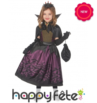 Robe de petite vampire noire et violette