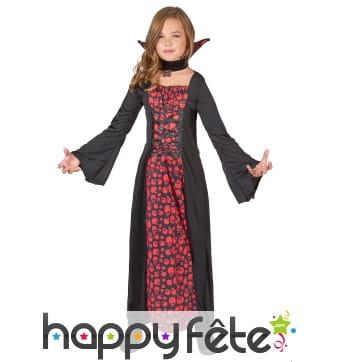 Robe de petite vampiresse imprimé têtes de mort