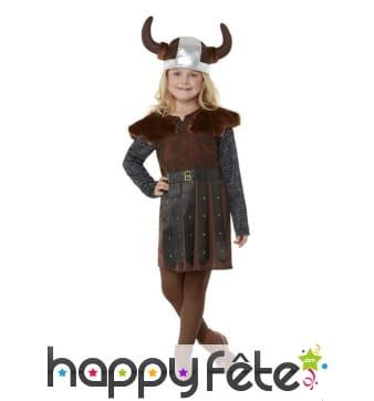 Robe de petite viking marron avec casque