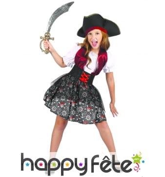 Robe de pirate imprimé tête de mort pour fille