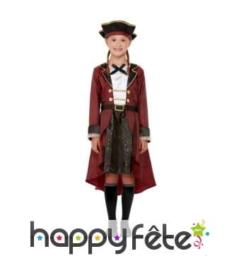 Robe de pirate rouge et noire pour enfant, deluxe