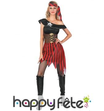 Robe de pirate sexy rayée rouge et noir pour femme
