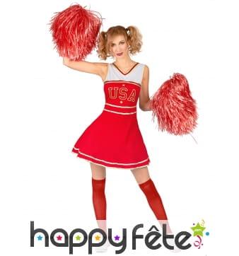 Robe de pompom girl rouge USA pour femme