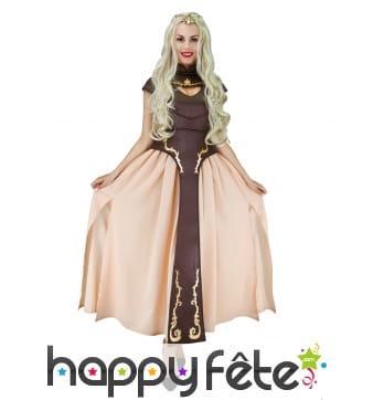 Robe de princesse médiévale marron pour adulte