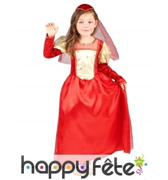 Robe de princesse médiévale rouge pour enfant
