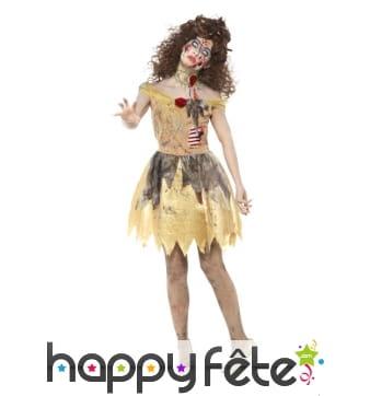 Robe de princesse zombie jaune pour femme