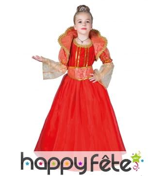 Robe de reine médiévale pour enfant, rouge et or