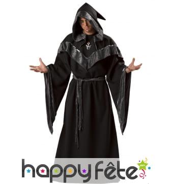 Robe de sorcier noire pour homme, prémium