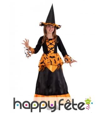 Robe de sorcière chauve-souris noir et orange