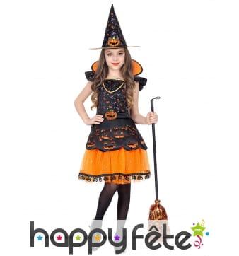 Robe de sorcière citrouille enfant avec chapeau