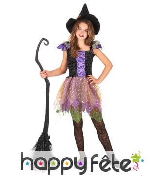 Robe de sorcière féérique colorée avec chapeau