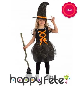 Robe de sorcière noire pour enfant lacage orange