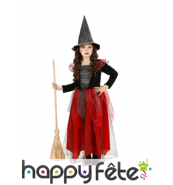 Robe de sorcière pour enfant rouge et noir