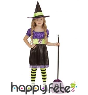 Robe de sorcière pour enfant, violet et rose