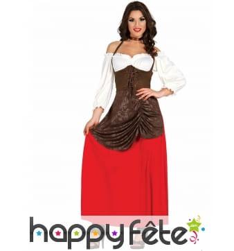 Robe de tavernière du Moyen âge marron et rouge