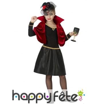 Robe de vampire pour fille avec petite cape rouge