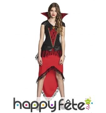 Robe de vampire rouge et noire pour ado