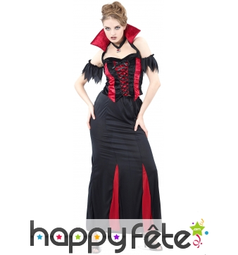 Robe de vampiresse à grand col rouge pour femme