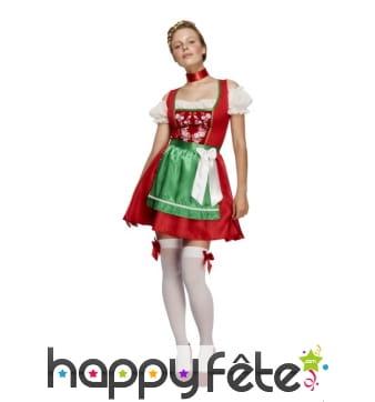 Robe Dirndl verte et rouge de Noël