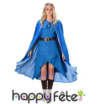 Robe et cape médiévale bleue unie