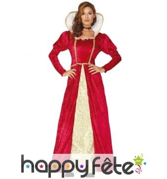 Robe élégante de reine médiévale or rouge, femme