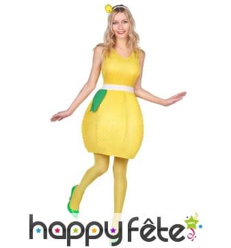 Robe en forme de citron jaune pour femme