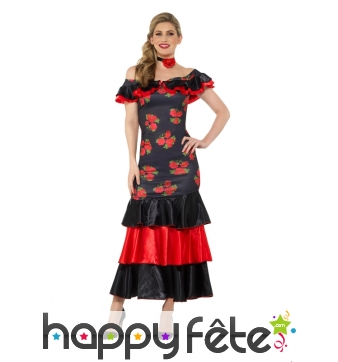 Robe Flamenco noir et rouge motifs fleurs