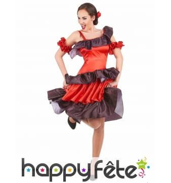 Robe flamenco rouge et noire pour adulte