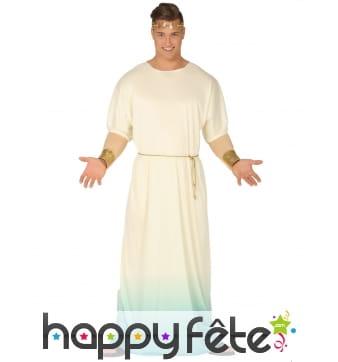 Robe grecque blanche et dégradé bleu pour homme
