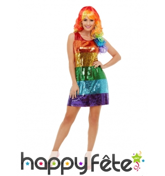 Robe GayPride courte recouverte de sequins