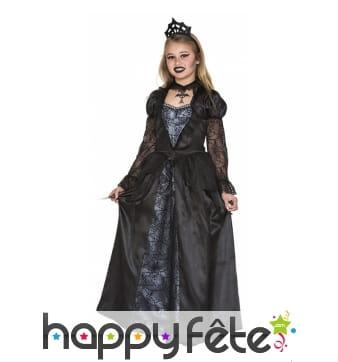 Robe gothique de reine noire pour fillette