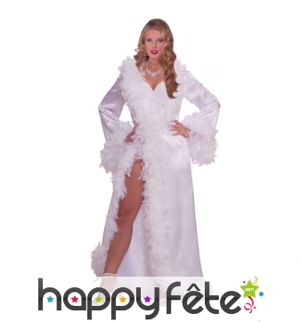 Robe hollywoodienne blanche marabout et satin
