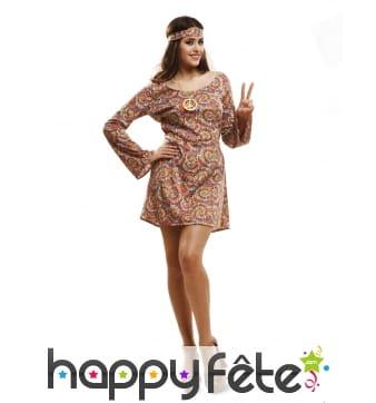 Robe hippie pour femme avec motifs tie and dye
