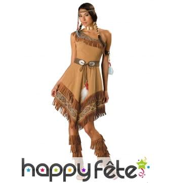 Robe Indienne asymétrique marron, prémium