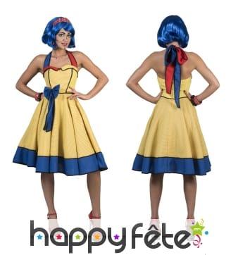 Robe jaune à pois et liseret bleu années 50