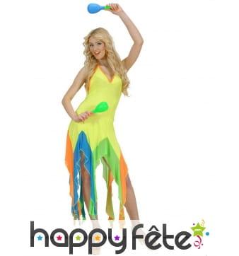 Robe jaune fluo de danseuse brésilienne