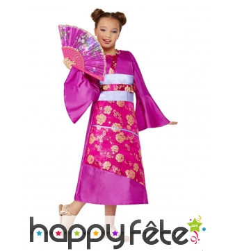 Robe kimono rose avec éventail pour enfant