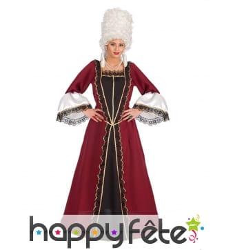 Robe longue baroque bordeaux avec dentelle femme