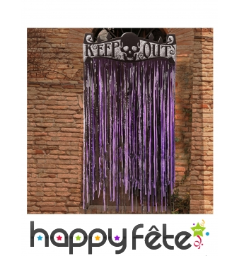 Rideau lambeaux Halloween violet Keep Out, 145cm