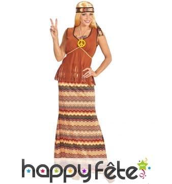 Robe longue hippie avec haut marron et franges