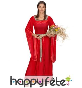 Robe longue rouge style médiéval pour adulte