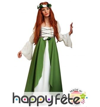 Robe Médiévale blanche et verte avec corset