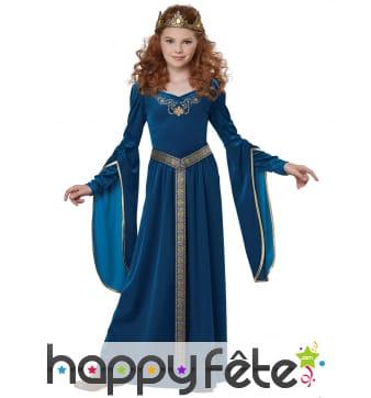 Robe médiévale bleue effet velours pour enfant